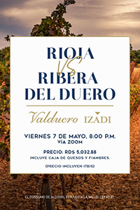 Experiencia virtual Rioja VS. Ribera del Duero (Incluye box de quesos y fiambres)